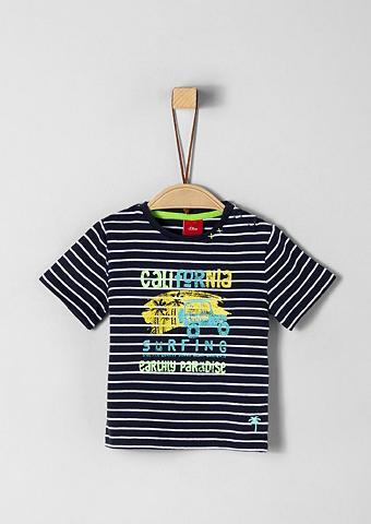 S.OLIVER JUNIOR Dryžuoti marškinėliai su Holiday-Print...