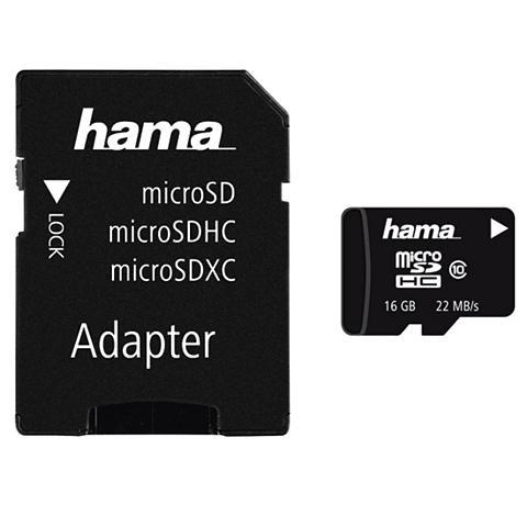 HAMA MicroSDHC 16GB Class 10 22MB/s + Adapt...