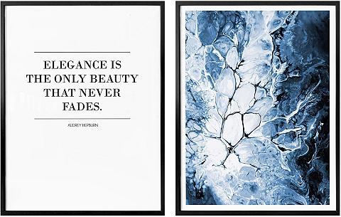 Wall-Art Poster »Blaue Eleganz« (Set 2 vienetai...
