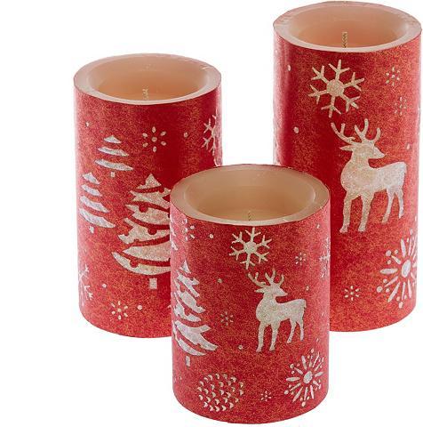 LED-Kerze (3-tlg) su weihnachtlichem M...