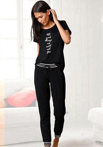 s.Oliver Bodywear Pižama su gestreiften Rippbündchen