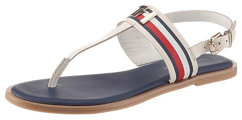 TOMMY HILFIGER »CORPORATE LEATHER FLAT SANDAL« Riemch...