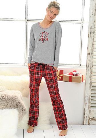 LASCANA Pižama su weihnachtlichem Karo-Design